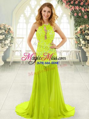 Yellow Green Scoop Backless Lace Prom Gown Brush Train Sleeveless