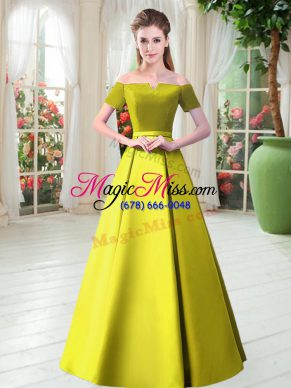 Affordable Yellow Green Off The Shoulder Lace Up Belt Prom Dress Short Sleeves