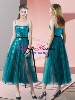 Romantic Teal A-line Tulle Spaghetti Straps Sleeveless Sequins Tea Length Zipper