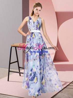 Hot Sale Multi-color Empire Printed V-neck Sleeveless Pattern Floor Length Zipper Dress for Prom