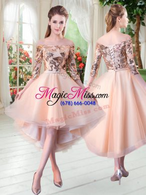 Peach Lace Up Prom Party Dress Sequins 3 4 Length Sleeve High Low