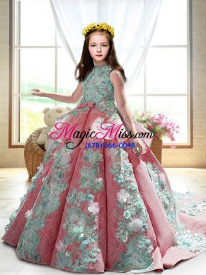 Trendy Watermelon Red Ball Gowns High-neck Sleeveless Satin Court Train Backless Appliques Little Girl Pageant Gowns