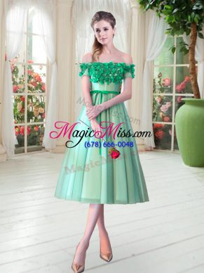 Inexpensive Tulle Sleeveless Tea Length Evening Dress and Appliques