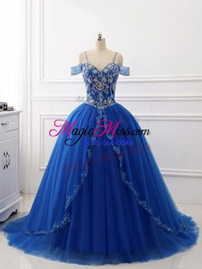 Luxury Off The Shoulder Sleeveless Tulle Vestidos de Quinceanera Beading Brush Train Lace Up