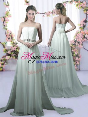 Chiffon Strapless Sleeveless Brush Train Beading Quinceanera Dama Dress in Apple Green