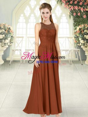 Floor Length Brown Prom Gown Scoop Sleeveless Backless