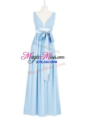 Beauteous Sleeveless Floor Length Ruching and Bowknot Backless Dress for Prom with Baby Blue