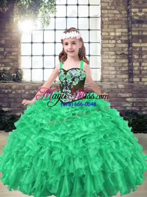 Simple Green Organza Lace Up Little Girl Pageant Gowns Sleeveless Floor Length Embroidery and Ruffles