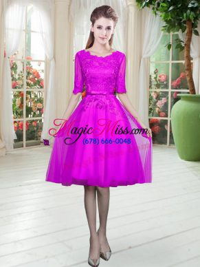 Fuchsia Scoop Neckline Lace Dress for Prom Half Sleeves Lace Up