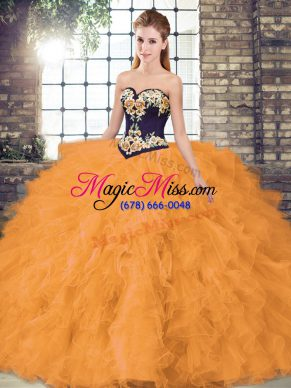 Floor Length Orange Sweet 16 Dresses Organza Sleeveless Beading and Embroidery