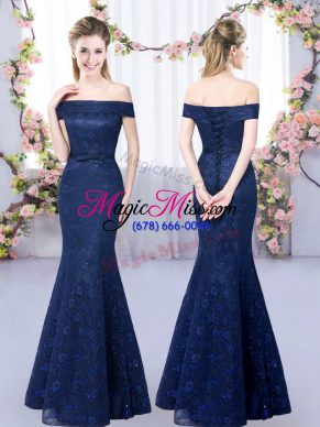 Lace Quinceanera Court of Honor Dress Navy Blue Lace Up Sleeveless Floor Length