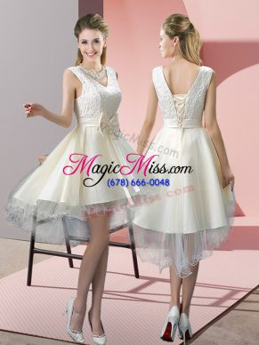 White Tulle Lace Up V-neck Sleeveless High Low Prom Party Dress Lace and Bowknot