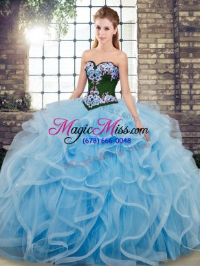 Baby Blue Ball Gowns Sweetheart Sleeveless Tulle Sweep Train Lace Up Embroidery Vestidos de Quinceanera