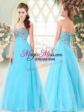 Perfect Sweetheart Sleeveless Tulle Dress for Prom Beading Lace Up