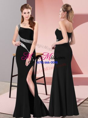 Exceptional Black Mermaid Satin One Shoulder Sleeveless Beading Floor Length Zipper Dress for Prom