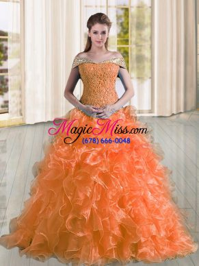 Orange A-line Off The Shoulder Sleeveless Organza Sweep Train Lace Up Beading and Lace and Ruffles Quinceanera Gowns