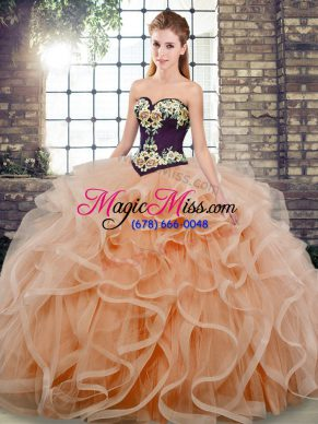 Elegant Peach Sleeveless Embroidery and Ruffles Lace Up Quinceanera Gowns