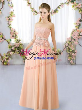 Dazzling Peach Chiffon Lace Up Strapless Sleeveless Floor Length Vestidos de Damas Lace and Belt