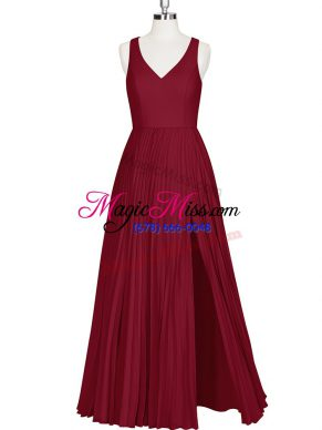 A-line Homecoming Dress Wine Red V-neck Sleeveless Floor Length Zipper