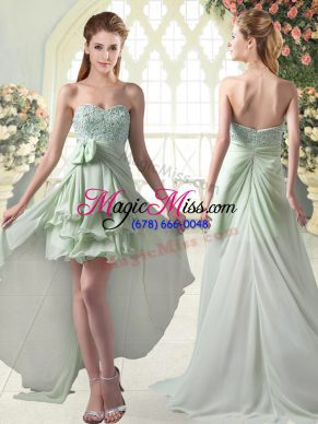 Eye-catching Sweetheart Sleeveless Zipper Prom Party Dress Apple Green Chiffon