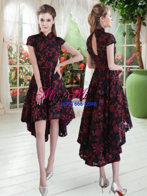 Lovely Red And Black A-line Lace High-neck Short Sleeves Appliques High Low Zipper Prom Evening Gown