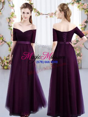 Dark Purple Short Sleeves Floor Length Ruching Lace Up Wedding Guest Dresses