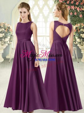 Purple Backless Evening Gowns Ruching Sleeveless Floor Length
