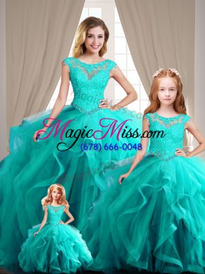 Amazing Ball Gowns Cap Sleeves Aqua Blue 15 Quinceanera Dress Lace Up