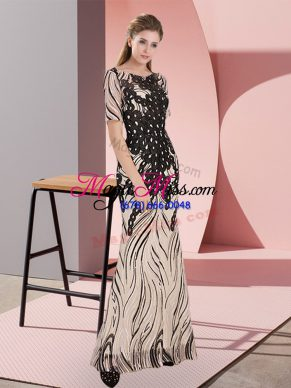 Clearance Black Zipper Scoop Half Sleeves Floor Length Dress for Prom Sequins