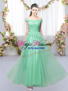 7d6f8fcb8f4 Floor Length Apple Green Dama Dress for Quinceanera Tulle Sleeveless Lace