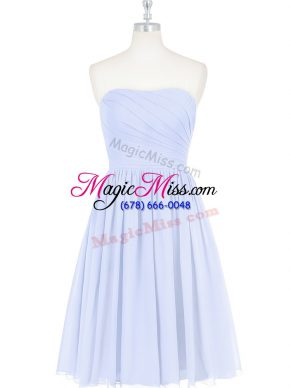 Nice Strapless Sleeveless Prom Dresses Knee Length Ruching and Pleated Light Blue Chiffon