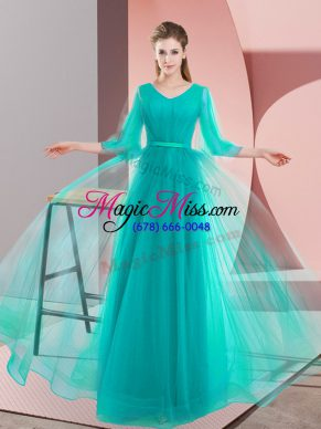 Turquoise A-line Tulle V-neck Long Sleeves Beading Floor Length Lace Up Prom Dress