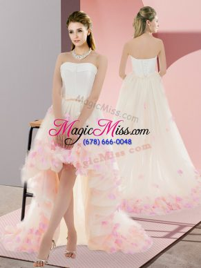 Strapless Sleeveless Prom Gown High Low Appliques Champagne Tulle