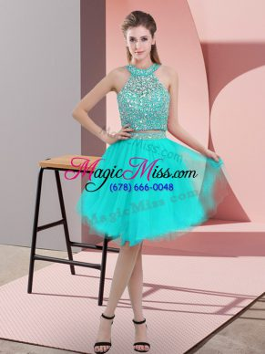 Customized Turquoise Prom Dresses Prom and Party with Beading Halter Top Sleeveless Backless