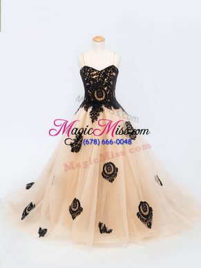High End Peach Lace Up Spaghetti Straps Appliques Little Girl Pageant Gowns Tulle Sleeveless Brush Train