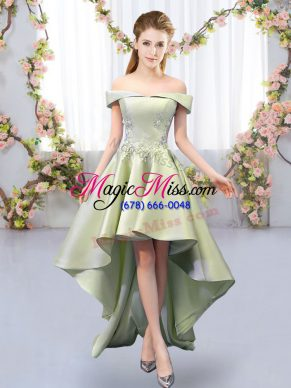 Attractive Yellow Green Dama Dress Prom and Party and Wedding Party with Appliques Off The Shoulder Sleeveless Lace Up