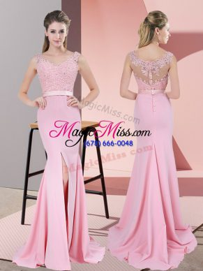 Nice V-neck Sleeveless Prom Gown Sweep Train Lace and Appliques Baby Pink Chiffon