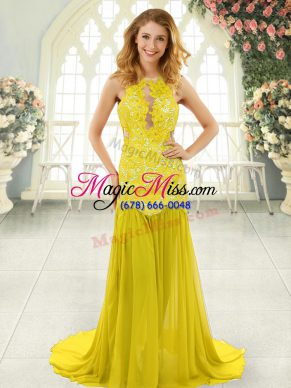 Dynamic Yellow Dress for Prom Scoop Sleeveless Brush Train Backless