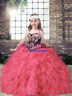 Perfect Coral Red Sleeveless Embroidery and Ruffles Floor Length Kids Formal Wear