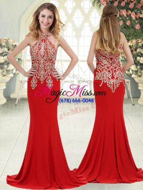Sophisticated Red Halter Top Neckline Beading and Lace Evening Dress Sleeveless Zipper