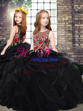 Black Ball Gowns Tulle Scoop Sleeveless Embroidery and Ruffles Zipper Girls Pageant Dresses Sweep Train