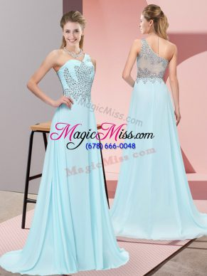 One Shoulder Sleeveless Evening Dress Sweep Train Beading Baby Blue Chiffon