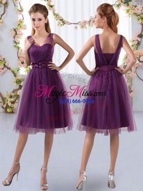 Tulle V-neck Sleeveless Zipper Appliques Court Dresses for Sweet 16 in Purple