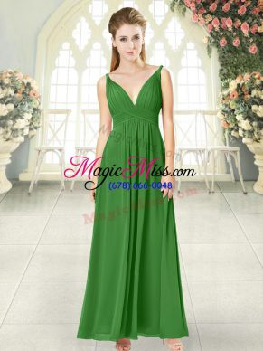 Green Sleeveless Ankle Length Ruching Backless Dress for Prom