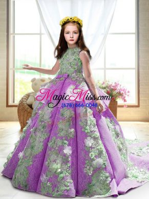 High End Lilac Satin Backless Winning Pageant Gowns Sleeveless Court Train Appliques