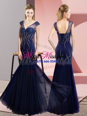 Discount Sleeveless Chiffon Floor Length Lace Up Evening Dress in Navy Blue with Beading