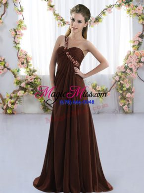 One Shoulder Sleeveless Brush Train Lace Up Dama Dress Brown Chiffon