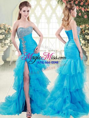 Fancy Beading and Ruffled Layers Womens Evening Dresses Aqua Blue Lace Up Sleeveless Brush Train