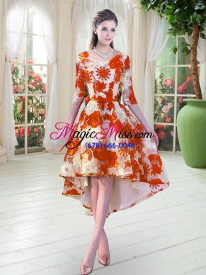 Dazzling Orange Red Prom Gown Prom and Party with Belt Scoop Half Sleeves Lace Up