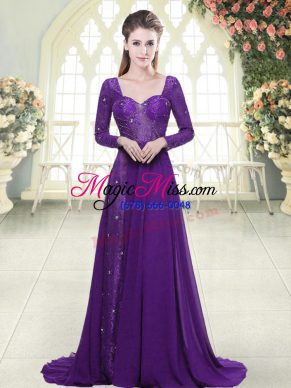 New Style Eggplant Purple Sweetheart Neckline Beading and Lace Prom Party Dress Long Sleeves Backless